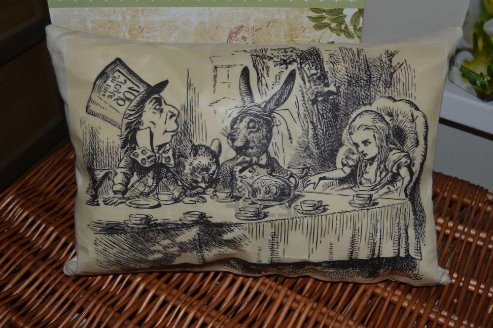 Handmade Cushion~ Alice in Wonderland ~ Mad Hatter Tea Party