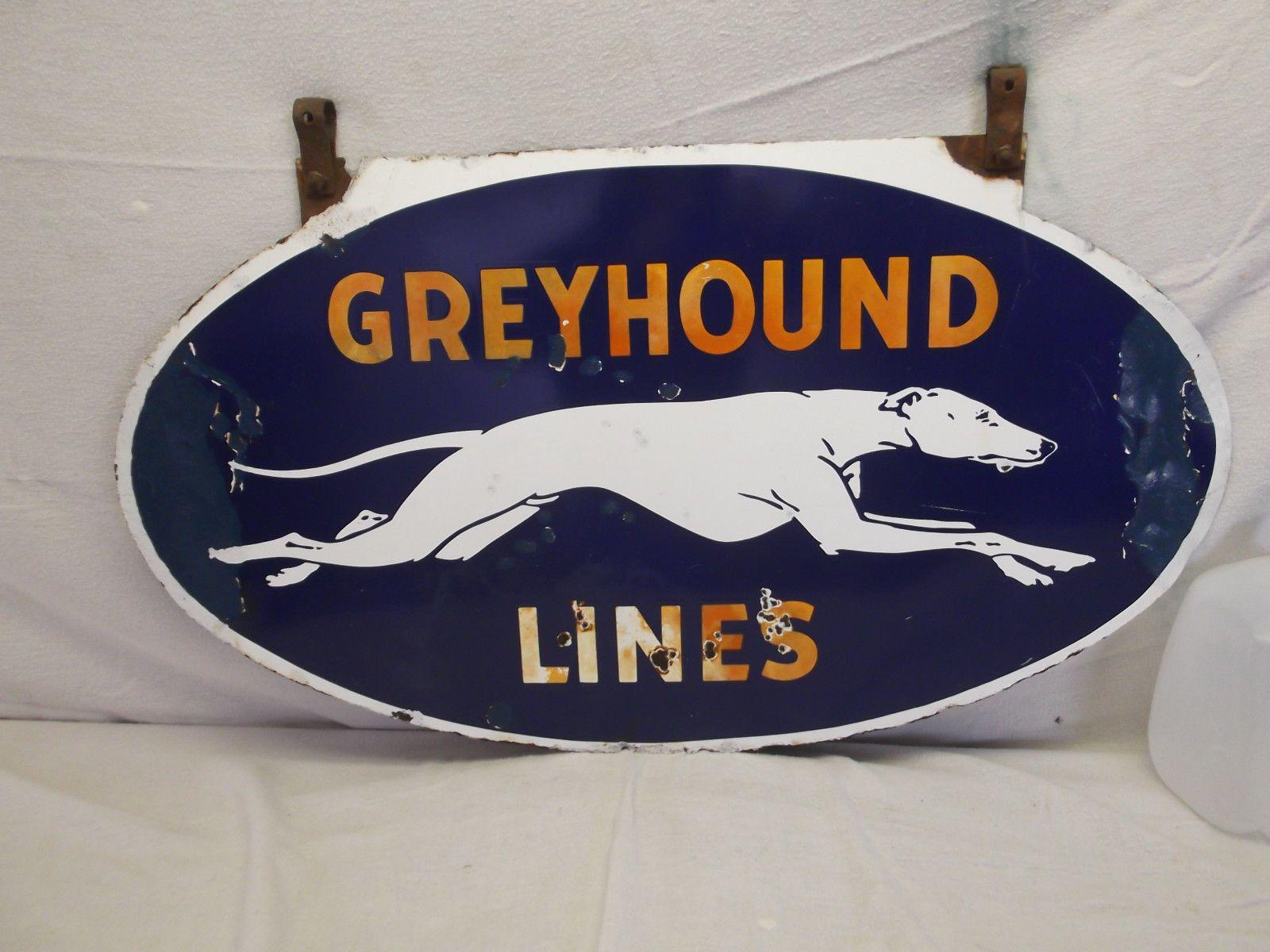 Greyhound Vintage Porcelain Sign Old Antique Double Sided Bus Lines