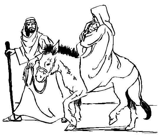 Mary With Jesus On Donkey Bible Coloring Pages Jesus Coloring Pages Horse Coloring Pages