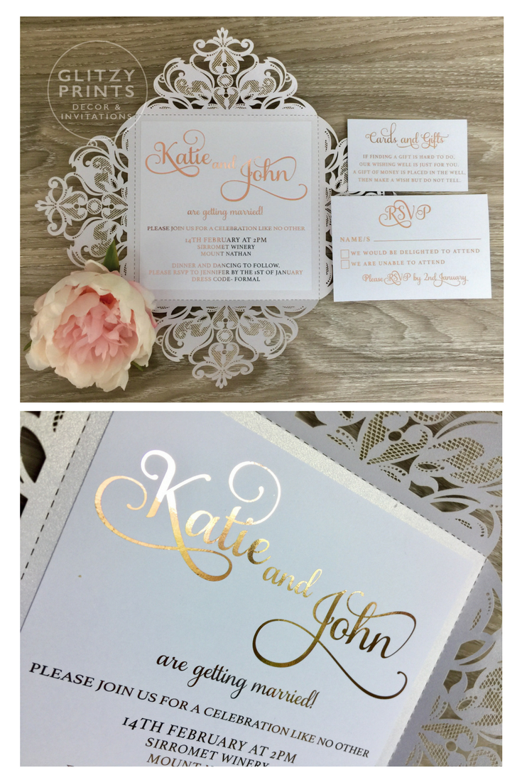 Rose Gold Foil Wedding Invitation Sample Laser Cut Set Pocket Fold
