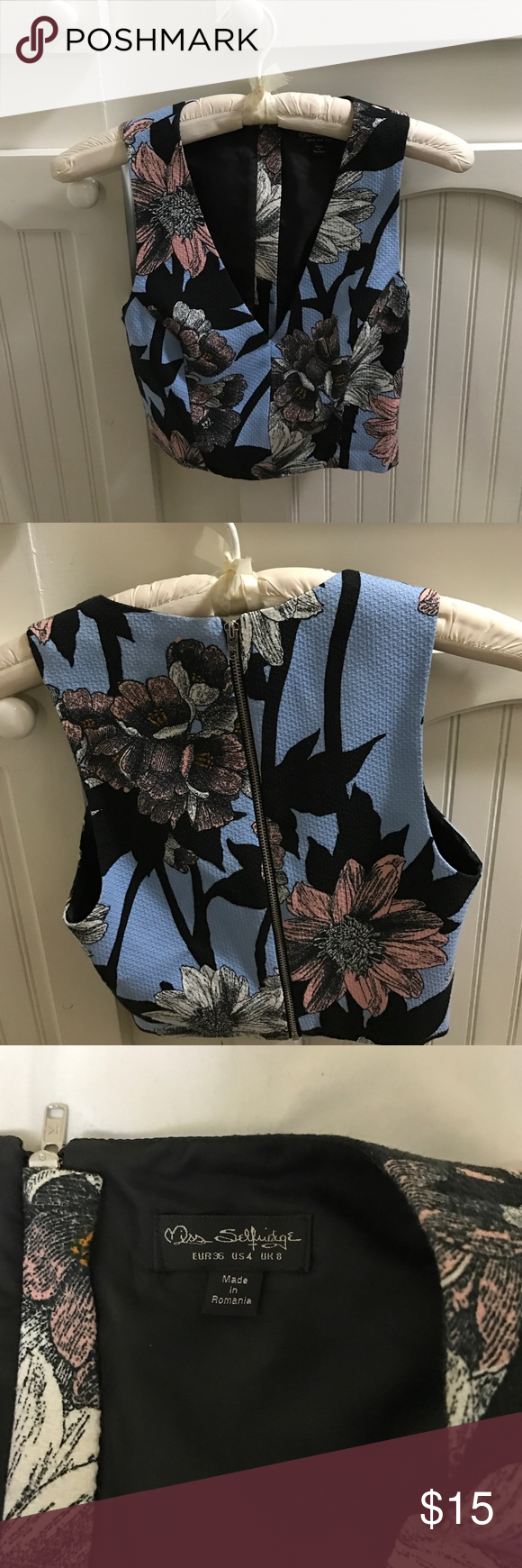 Floral Print Crop Top Took the tags off but it hasn't actually been worn. Deep v-neck, zips on the back. It's a U.K. brand and it runs a little small. (Marked as a US 4) HAS MATCHING SKIRT!!! miss selfridge Tops Crop Tops