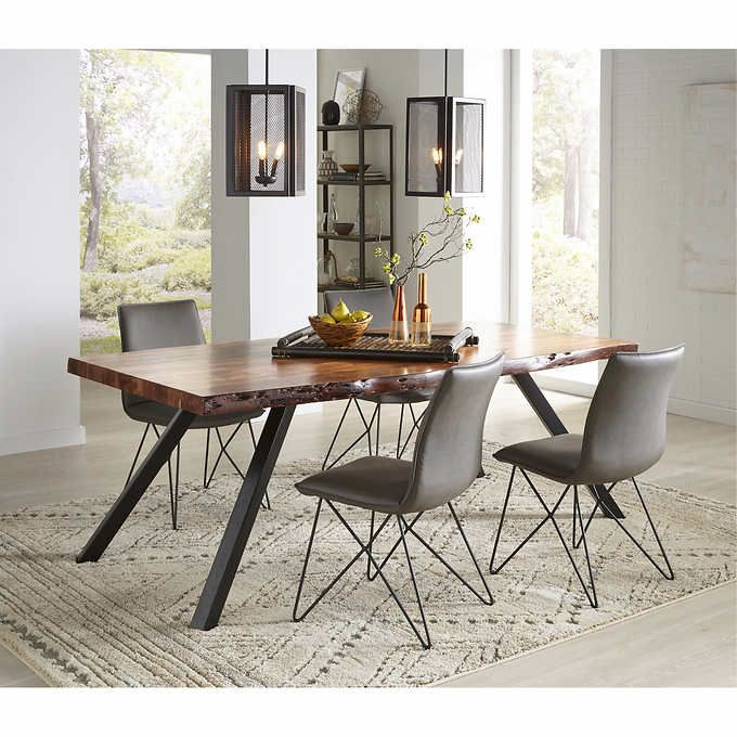 Tamon Live Edge Dining Table Acacia Wood And Powder Coated IronNatural  Acacia FinishLive Edges Are Sanded And StainedOne Of A Kind Photo Gallery