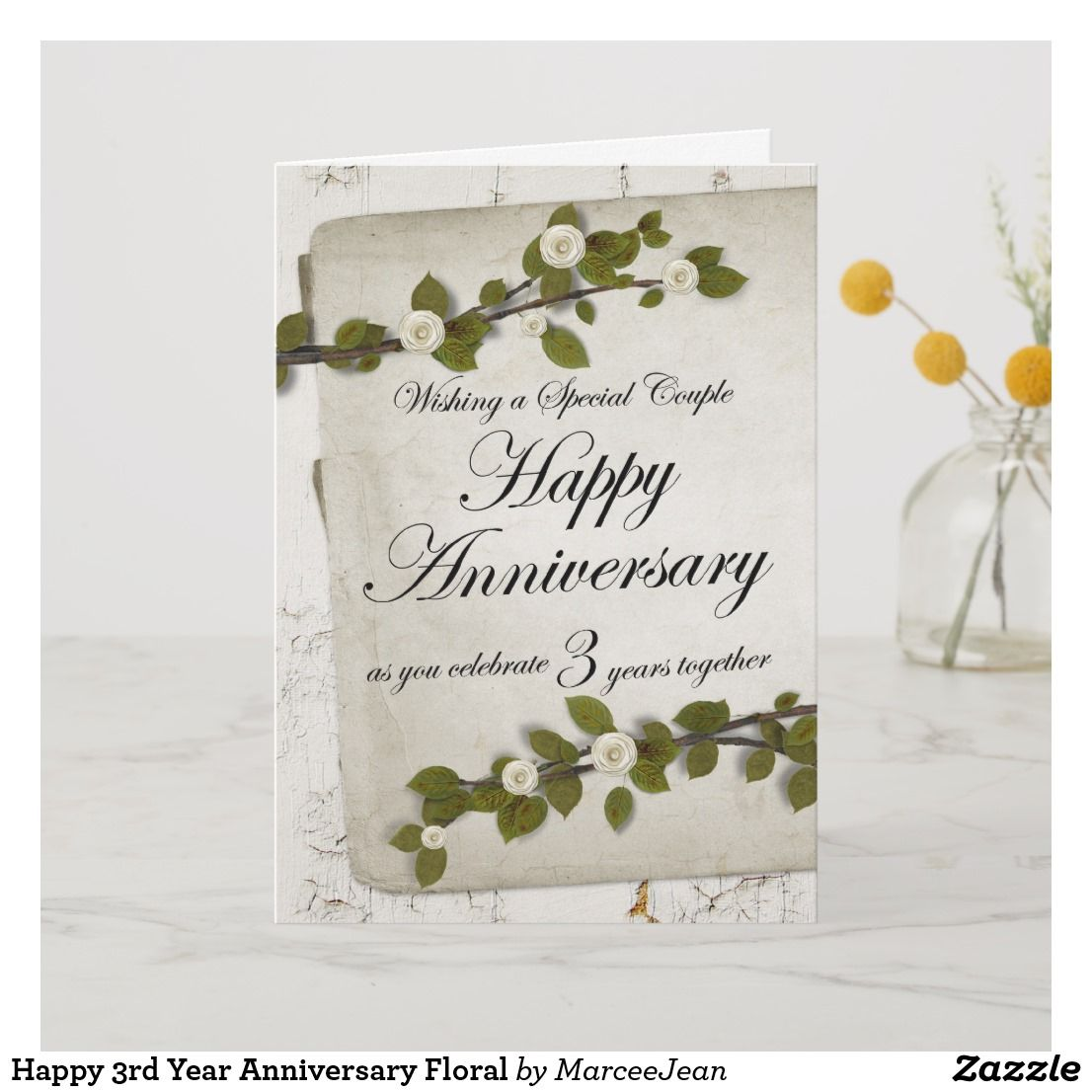 Happy 3rd year anniversary floral card