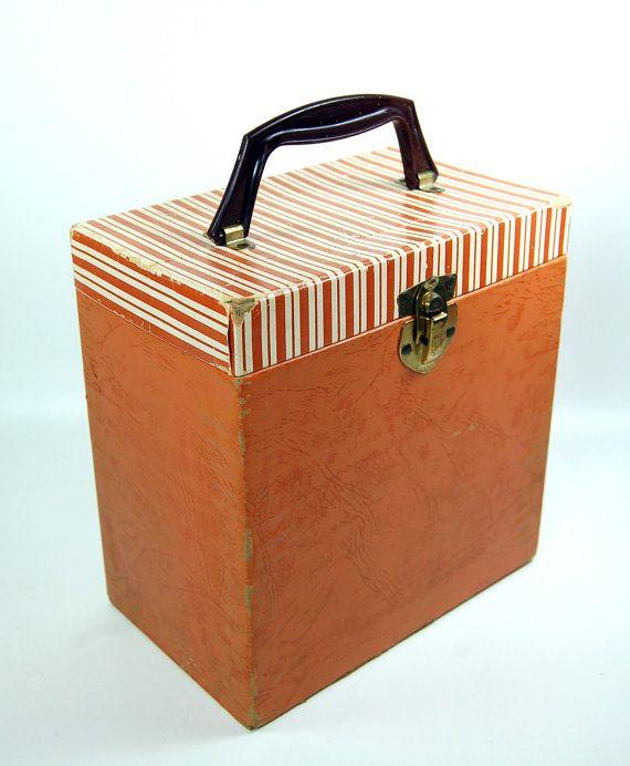 Vinyl 45s Striped Record Storage Box Carry Case By Joevintage 32 00 Record Storage Box Record Storage Vinyl Record Box