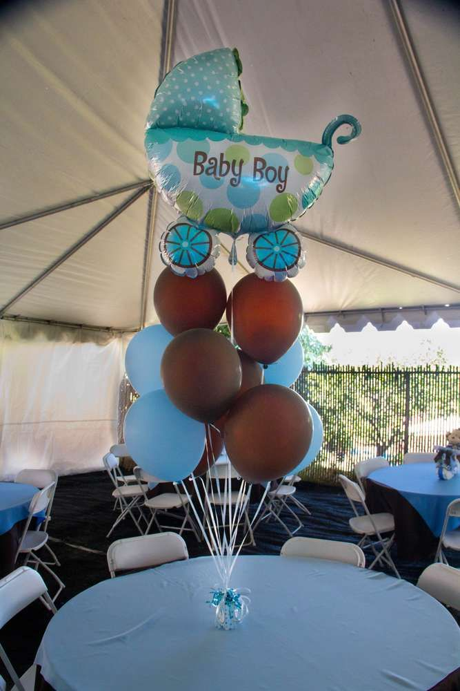 Light Blue Brown Monkey Baby Shower Party Ideas Photo 28 Of 32 Catch My Party Baby Shower Baby Shower Parties Baby Boy Shower