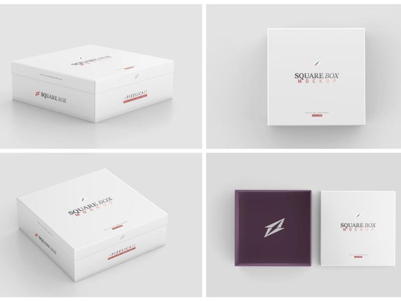 Download Square Box Mockup By Mockup5 On Dribbble Box Mockup Place Card Holders Box