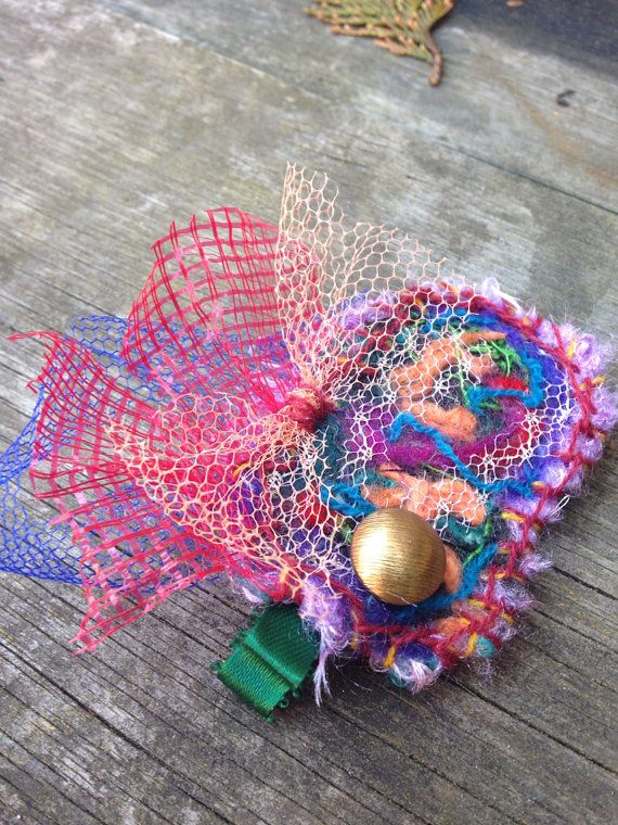 Rainbow Felted Hair Clip : made with upcycled materials