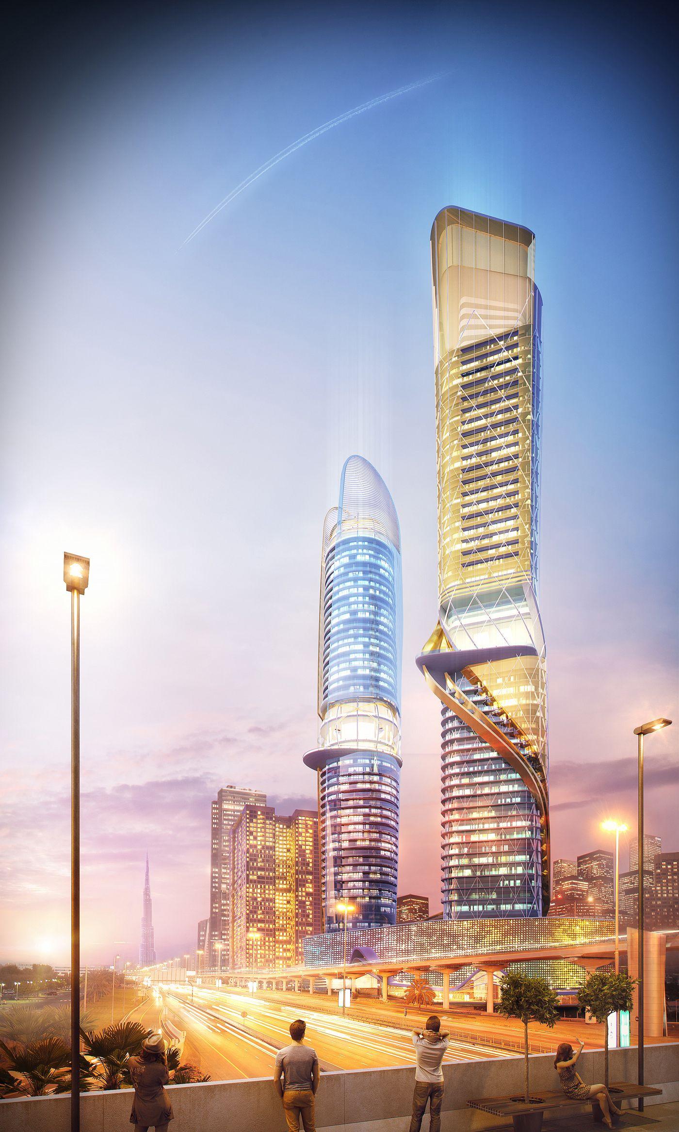 Rosemont Hotel and Serviced Apartments   ZAS Architects #Archviz by A+ studio   Milan Stevanovic Sheikh Zayed Road, #Dubai, #UAE