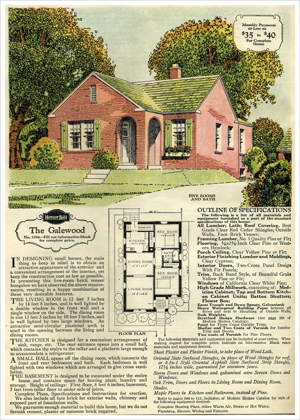 Small house galewood brick cottage 1929 sears honor for Brick kit homes