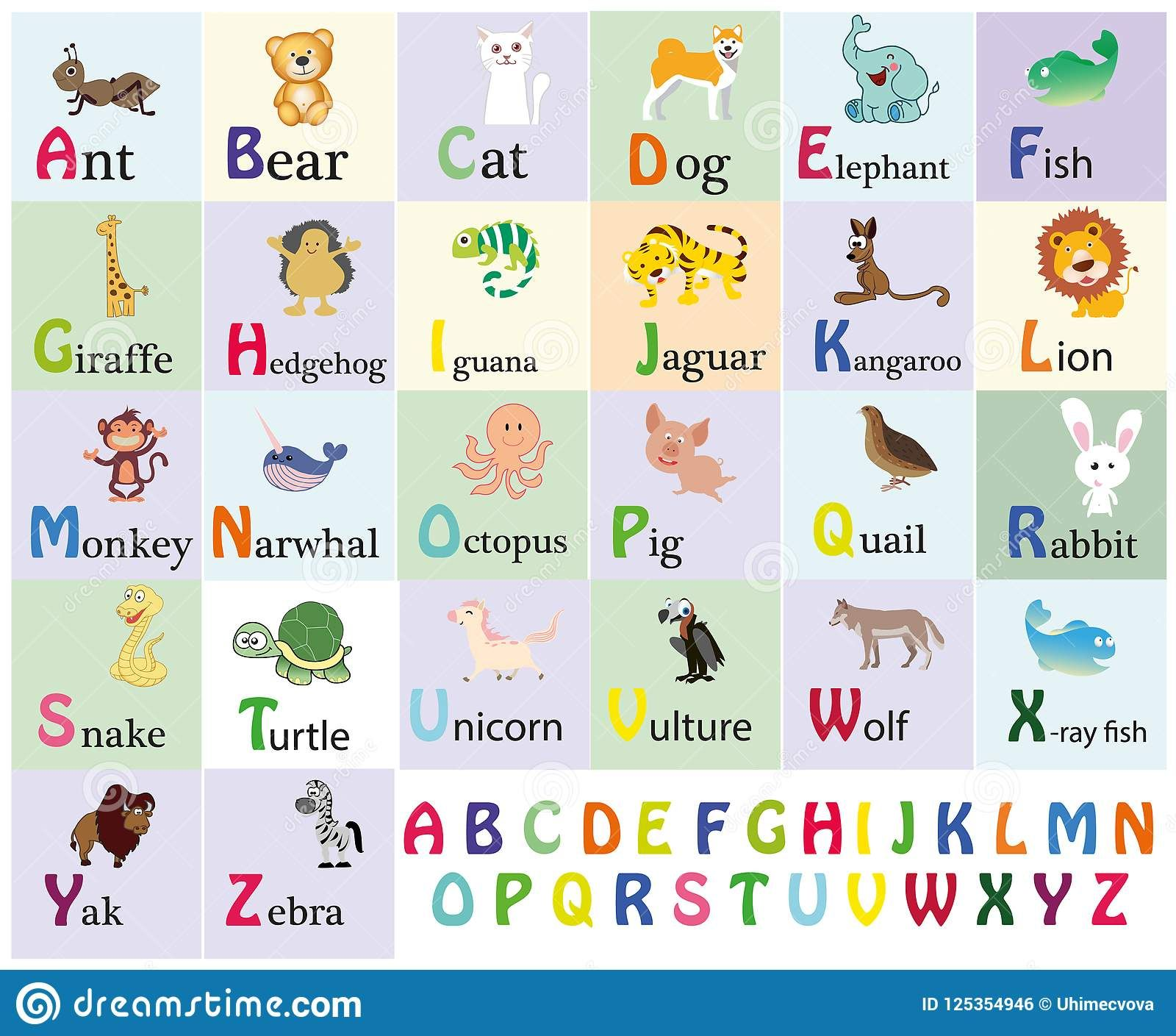 Zoo Alphabet Animal Alphabet Letters From A To Z Cartoon Cute Animals Isolated On White Backgr Animal Alphabet Animal Alphabet Letters Sight Word Flashcards