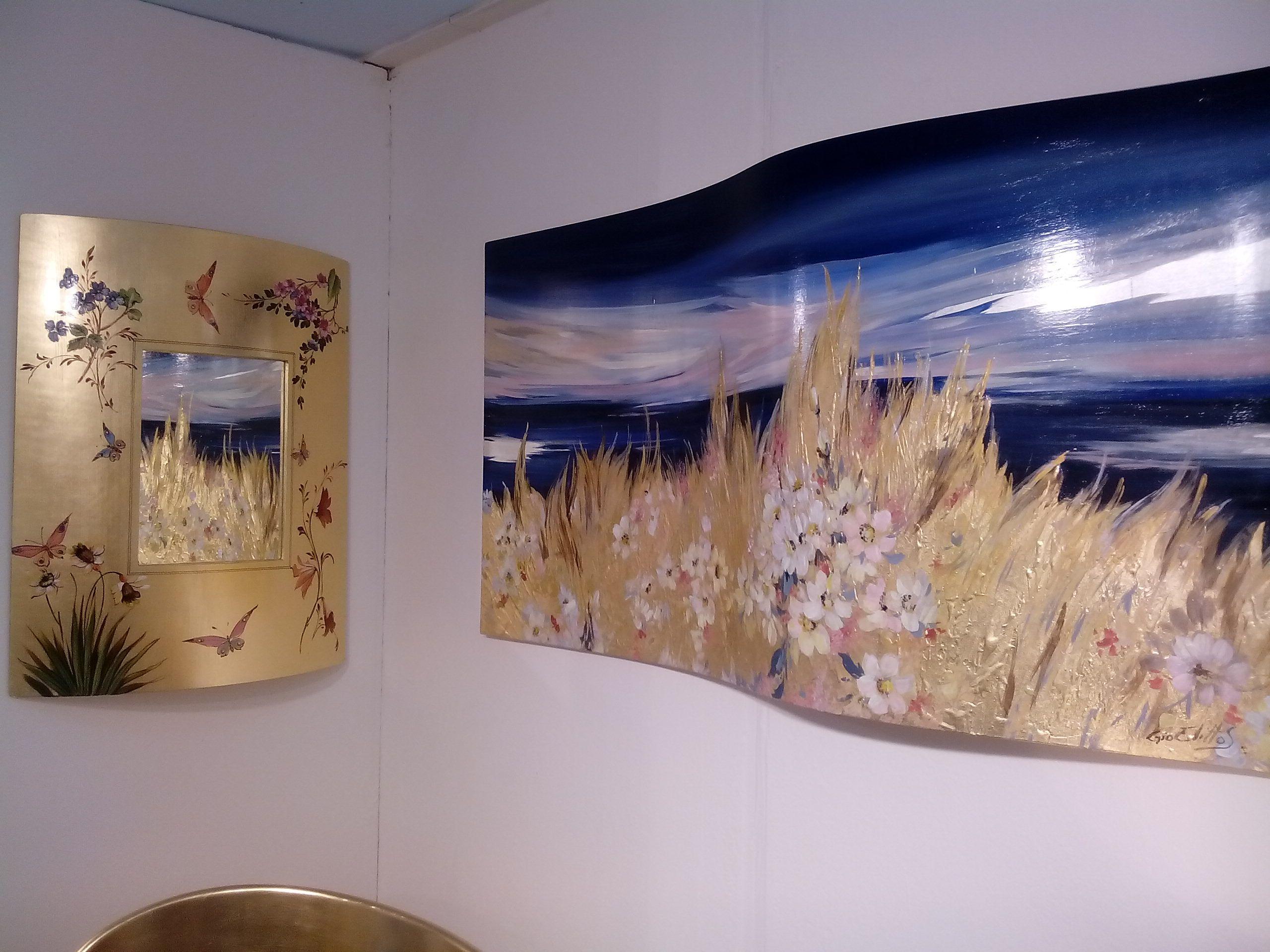 Onda oro riflessa quadro ondulato 145 x 70 cm spighe oro for Specchio ondulato