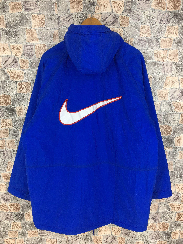 Nike Jacket Hoodie Parka Jacket Large Vintage 90s Nike Big Swoosh Sportswear Quilted Jacket Nike Blue Bomber Coat Size L In 2020 Nike Jacket Activewear Blue Parka Jacket