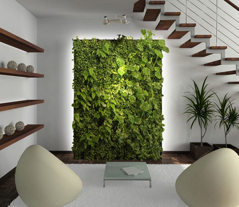 A Living Wall Is A Natural Air Filter Through The Absorption Of Carbon Dioxides And Volatile Or Green Interior Design Living Wall Indoor Vertical Garden Indoor
