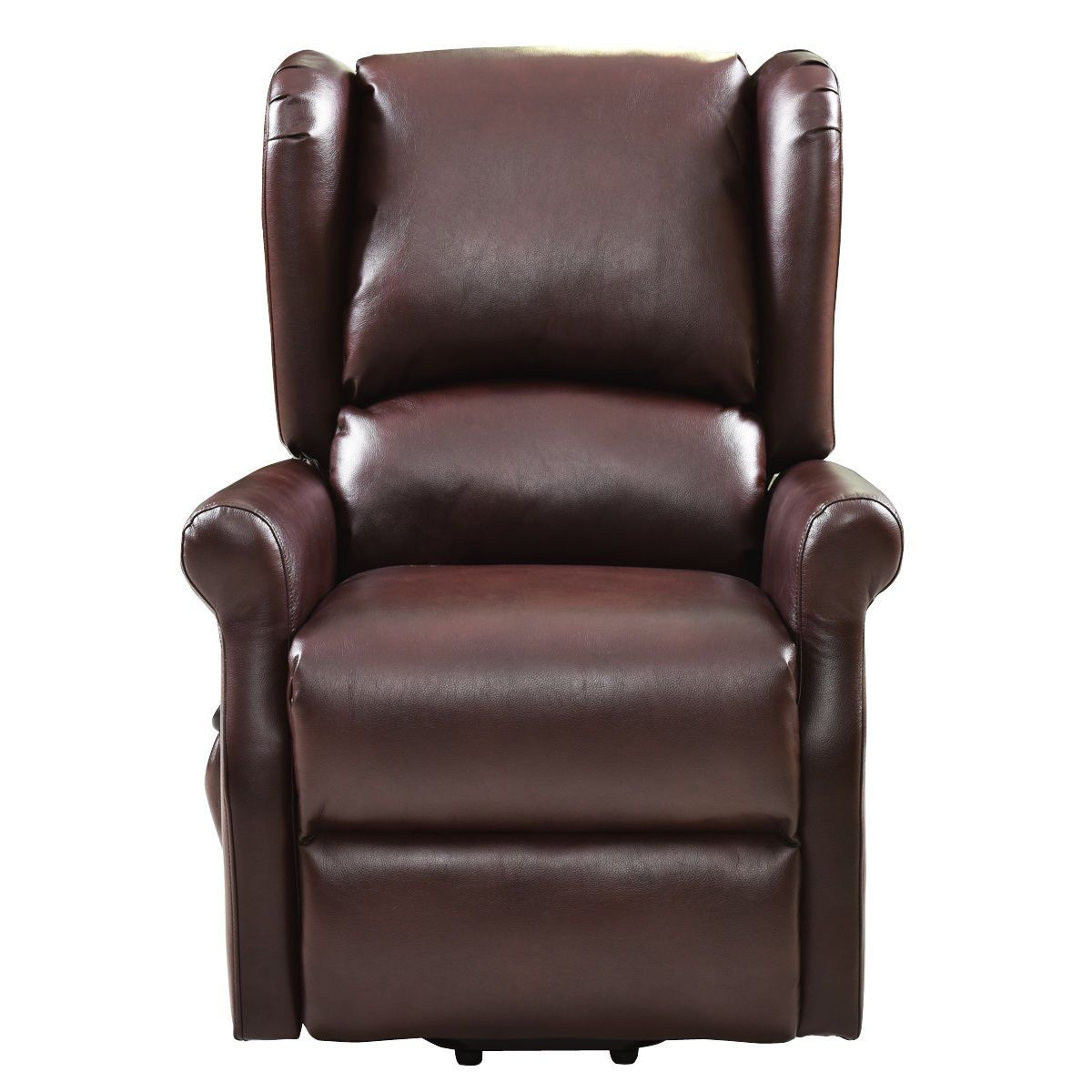 Brown adjustable position electric lift chair reclining