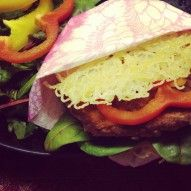 Ramen burger with tuna