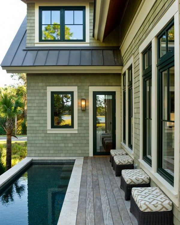 Dark windows with white trim i love lap pools in 2019 hgtv dream homes house design house - White house green trim ...
