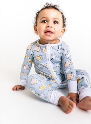 a6b5dfd393 Blue Breakfast Buddies Baby   Toddler Bamboo Zip Romper Sleeper ...