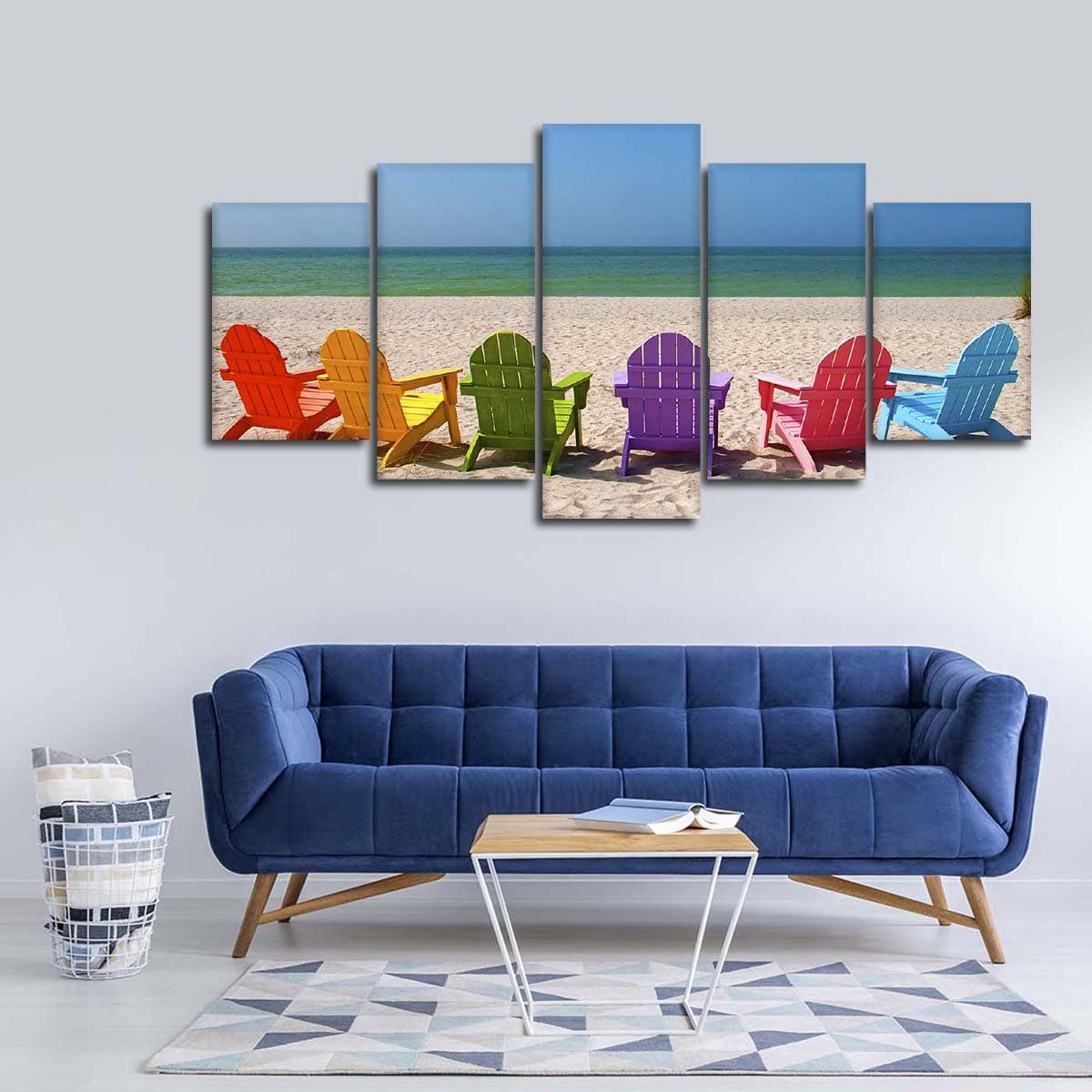 Beach Chairs Multi Panel Canvas Wall Art Canvas Wall Art Beach