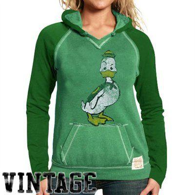 Original Retro Brand Oregon Ducks Ladies Green 2-Toned Heathered Hoody Sweatshirt #Vintage $49.95