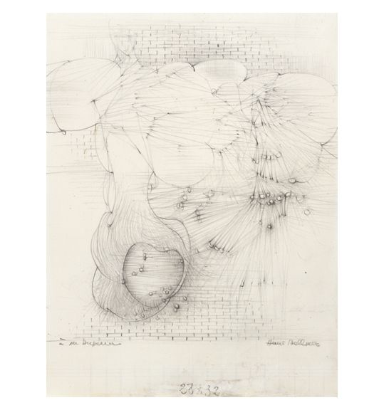Hans Bellmer Untitled Late 1950s Pencil On Graph Paper 8 1 2 X 6