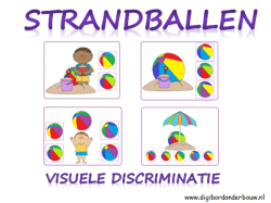 Digibordles strandballen: visuele discriminatie. de kinderen zien allemaal strandballen. De ballen hebben 7 verschillende kleuren. De kinderen moeten steeds dezelfde strandbal zoeken. Er zijn 4 verschillende niveaus. http://digibordonderbouw.nl/index.php/themas/zee/zeedigibordlessen/viewcategory/534