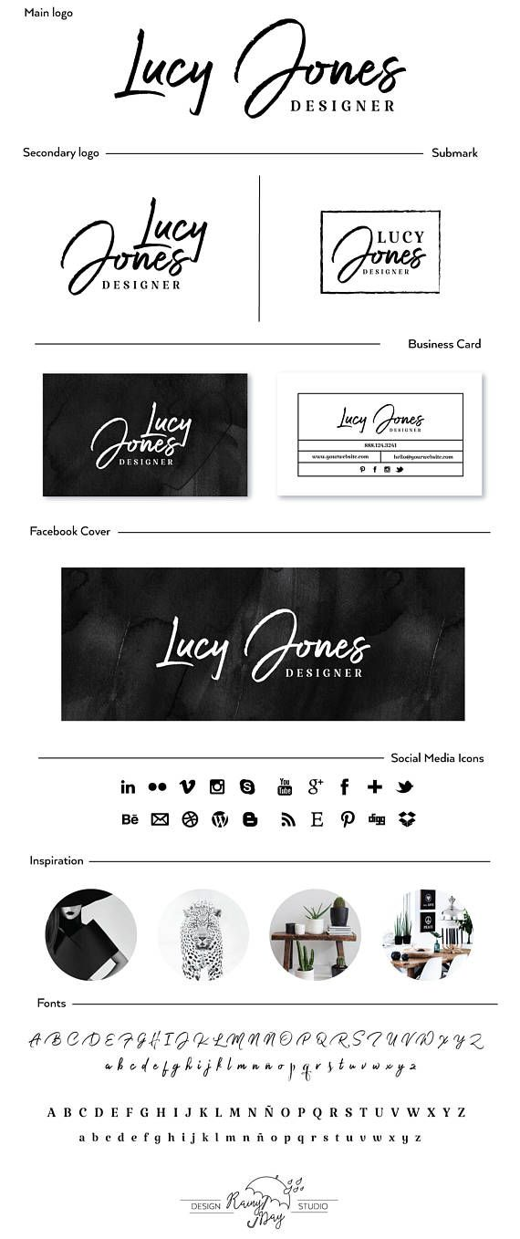 Black & White Branding, Black watercolor background, business cards