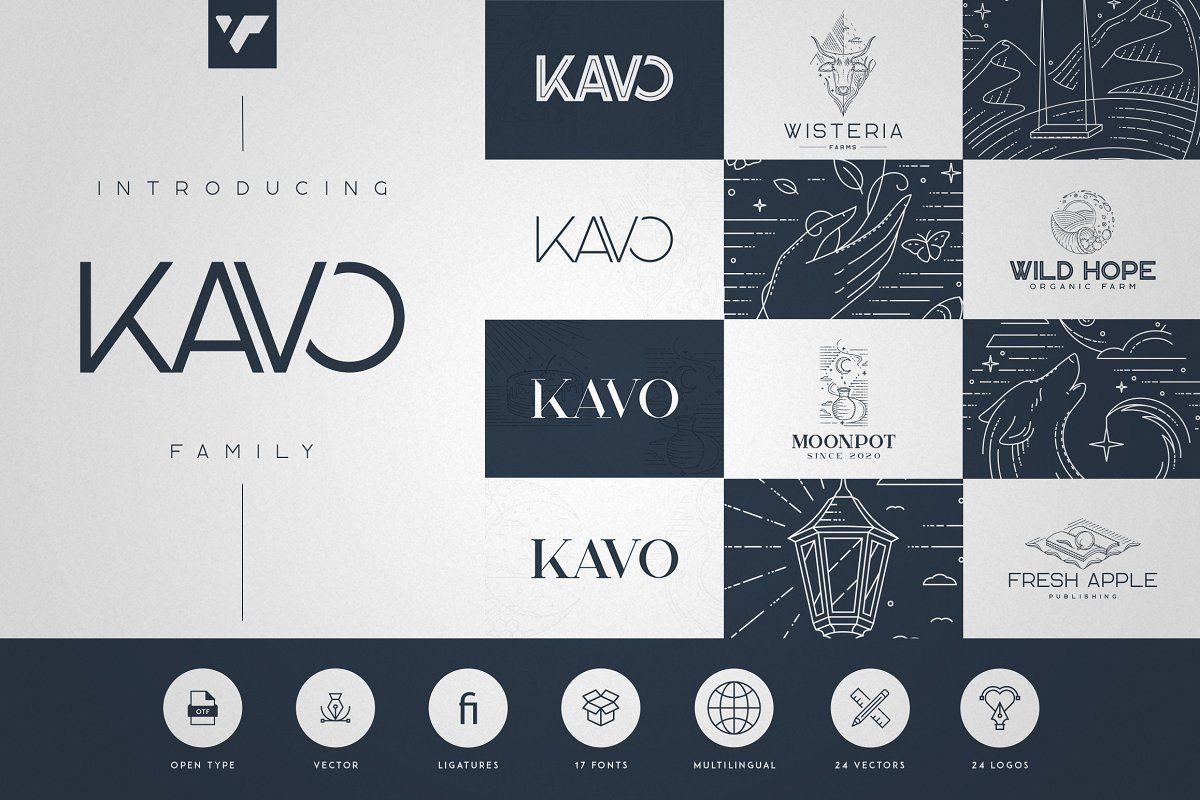 Kavo Family 17 Fonts 24 Logos In 2020 Logo Templates Unique Fonts Business Stationery