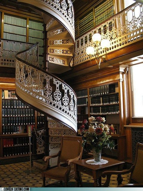 Spiral staircase in the library.