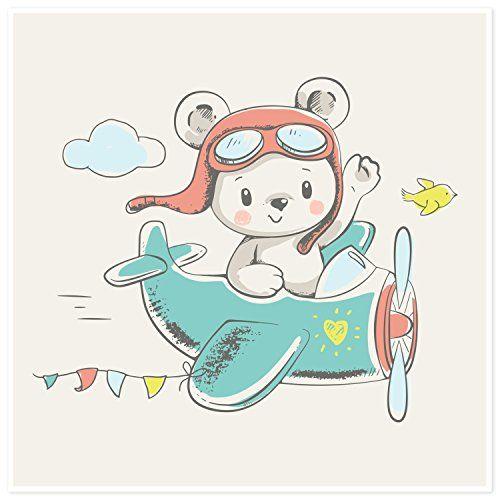 poster für kinderzimmer  bärchen im flugzeug  cartoon