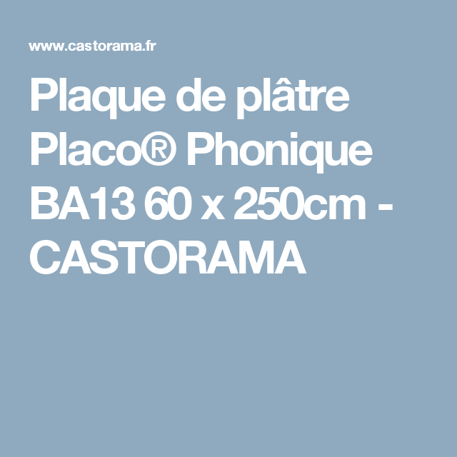 plaque de pl tre placo phonique ba13 60 x 250cm. Black Bedroom Furniture Sets. Home Design Ideas