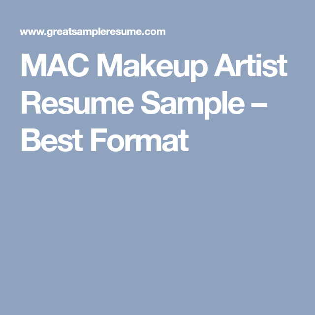 MAC Makeup Artist Resume Sample – Best Format | colour wheel | Mac