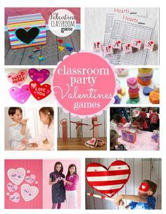 lots of classroom party games and crafts for valentines day-- perfect for kids-- a girl and a glue gun