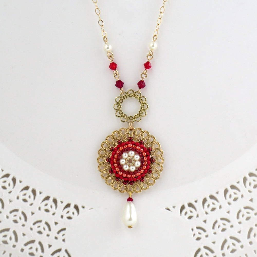 Red pendant necklace statement necklace gold long pendant necklace red pendant necklace statement necklace gold long pendant necklace red round pendant aloadofball Images
