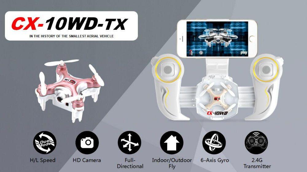 Cheerson CX-10WD-TX Mini Drone 2.4G WIFI 4CH FPV HD Camera  RC Quadcopter Remote