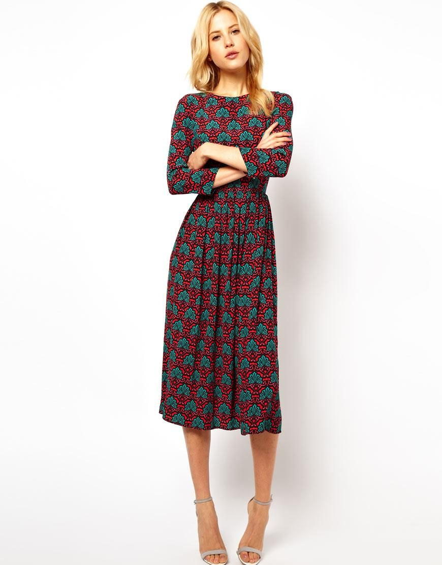 asos | asos midi dress in wallpaper print at asos | fashion