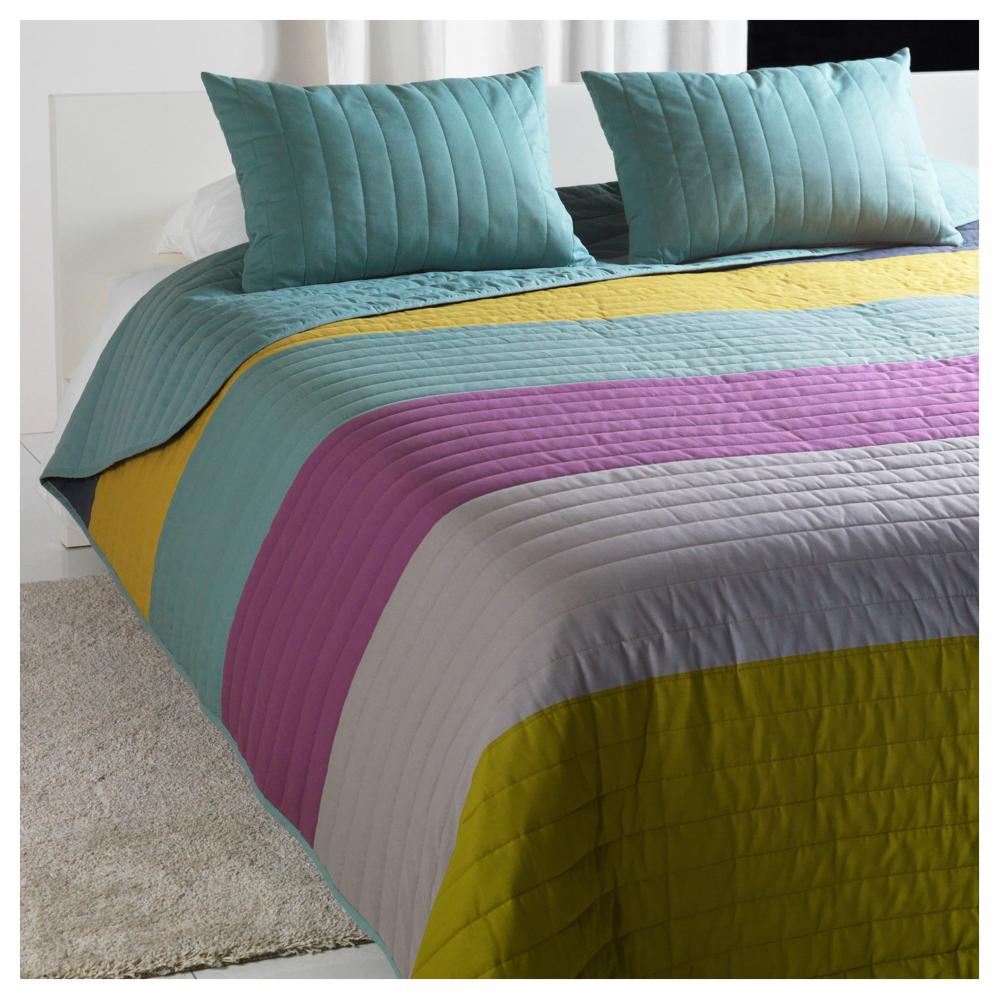 Malin bedspread and cushion covers queenking ikea