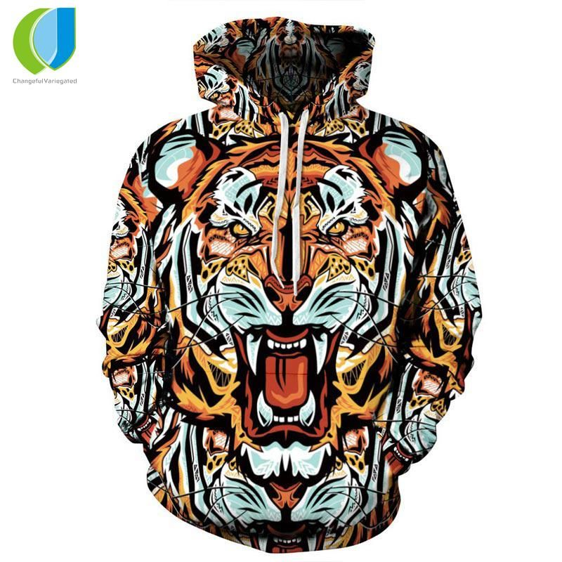 fb9e27b69e58 Fashion Men Women Brand Clothing Hooded Hoodies Pop Art Print Tiger 3d  Sweatshirt Men Tracksuits