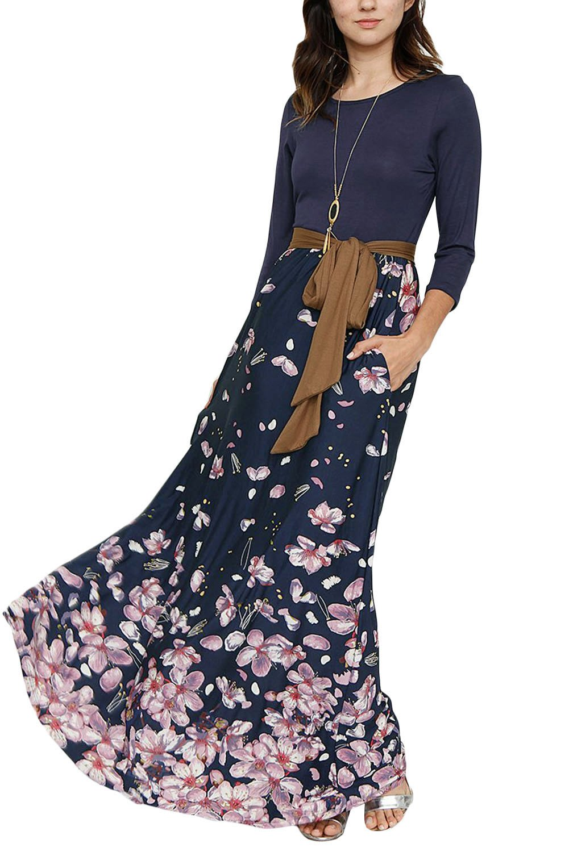 0bff79535f1c9 Falling Floral Navy Blue Bohemian Maxi Dress | WOMEN'S FASHION OF ...