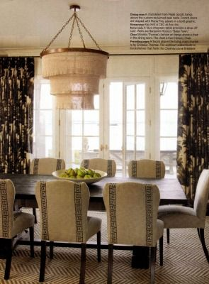 traditional home dining rooms. Patricia Chandelier in Gold from Made Goods as seen Traditional Home  magazine lighting favorite Wood Dining TablesDining Room