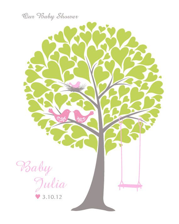 Baby Shower Tree Guest Book Print Nursery Wall Art by TJLovePrints, $17.00