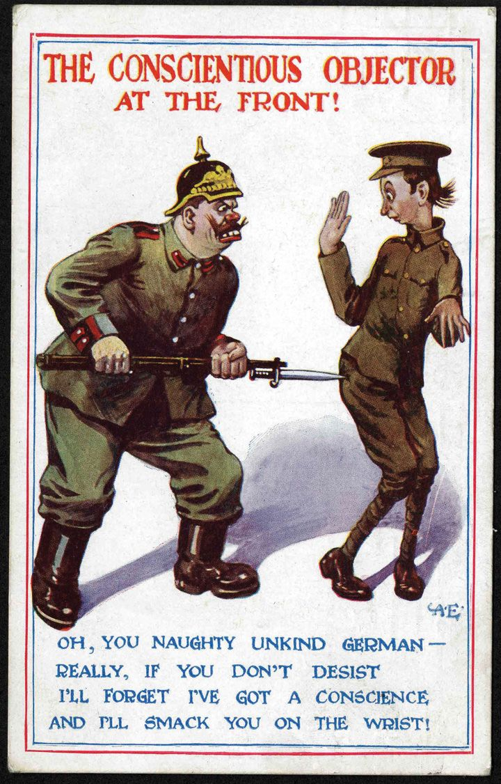 poster depicting caricatures of a german soldier prodding