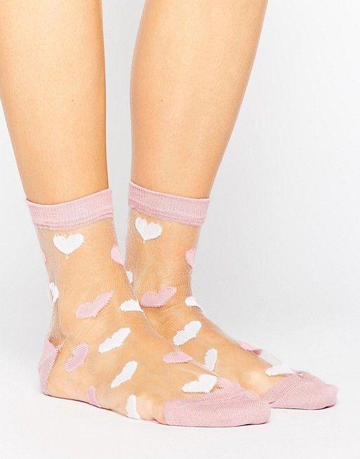 7b8014d05e8 ASOS Valentines Sheer Heart Socks