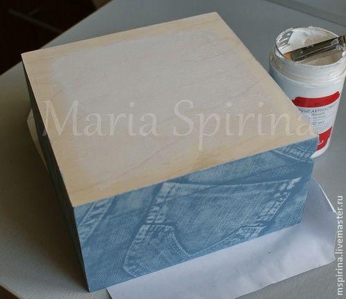 Декорирование шкатулки а-ля Бохо (имитация джинсы и белой тиснёной кожи) - Ярмарка Мастеров - ручная работа, handmade