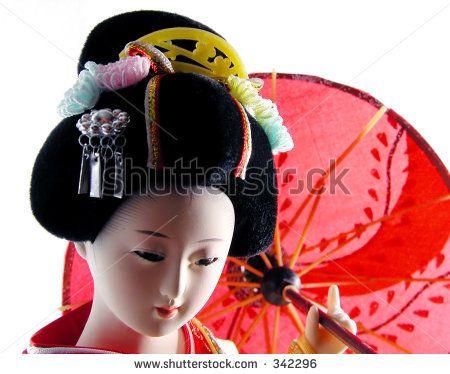 Geisha Doll With Umbrella