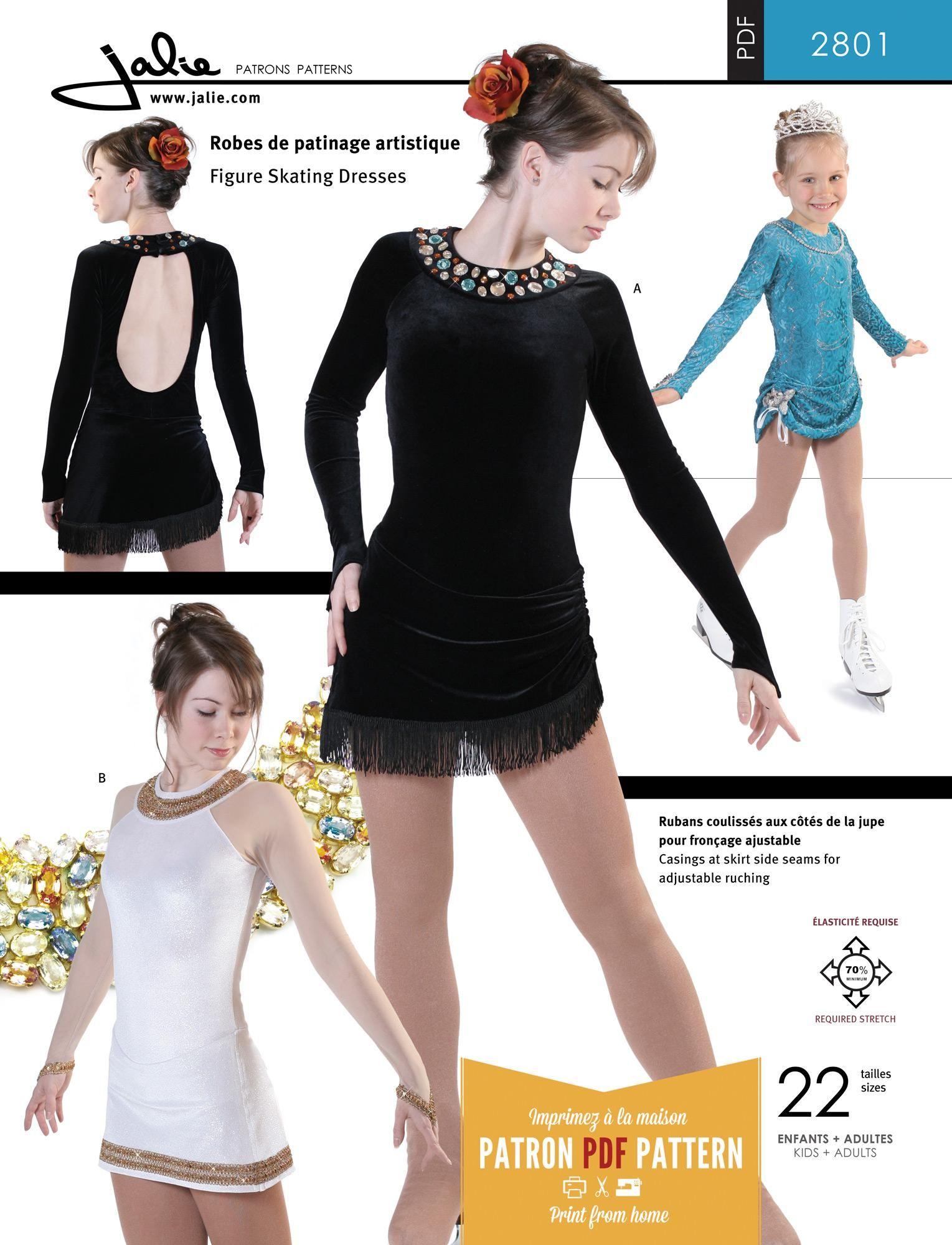 Jalie 2801 - Open-Back Skating Dress PDF Pattern | Skating | Pinterest