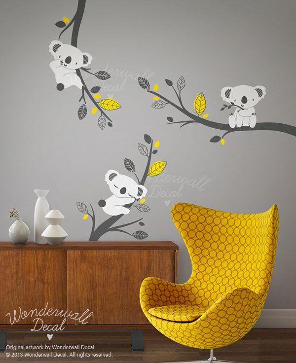 Nursery Wall Decal Grey Koala Bear Wall Decal On