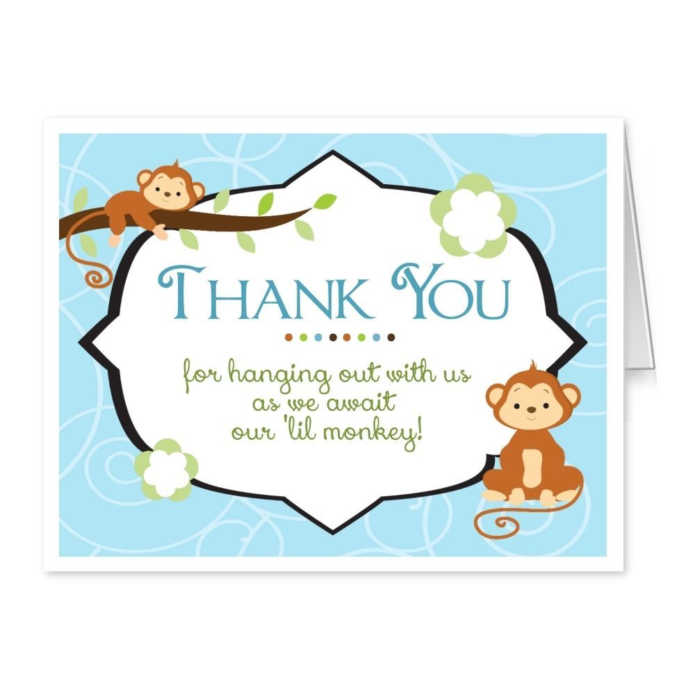 Baby shower thank you cards folded thank you notes jungle