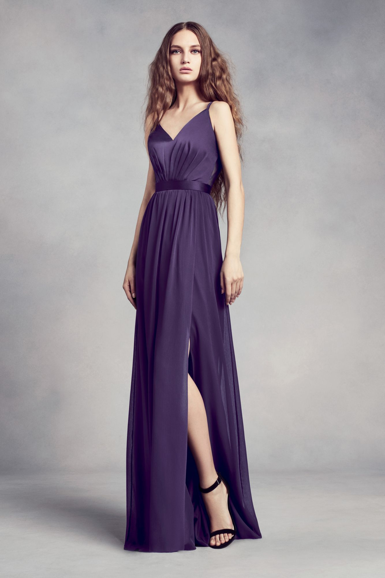 Floor Length Long A-line VW360345 Style Bridesmaid Dress with Sexy V ...