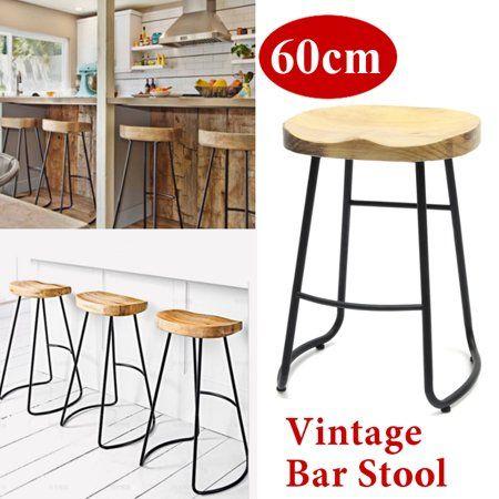 Superb 60Cm Metal Wood Bar Stool Retro Barstool Industrial Dining Forskolin Free Trial Chair Design Images Forskolin Free Trialorg