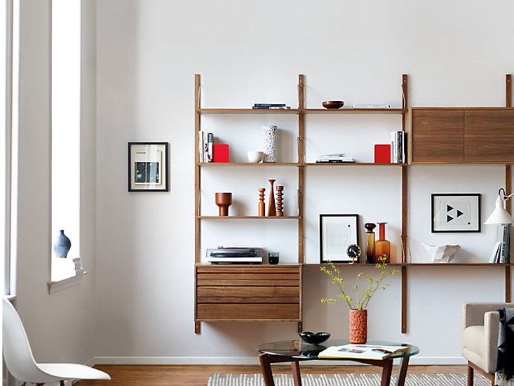 10 easy pieces wall mounted shelving systems remodelista Wall mounted shelf systems